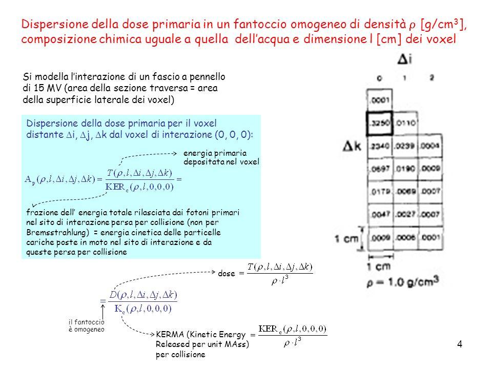 Dispersione della dose primaria in un fantoccio omogeneo di densità  [g/cm3],